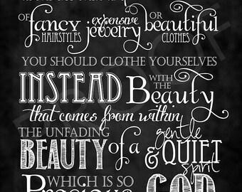 Scripture Art - I Peter 3:3-4 Chalkboard Style
