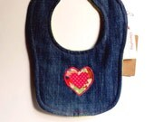 Denim bib with appliqué motif - heart or flower with polka dots and liberty fabrics