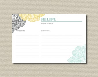 Bridal Shower Recipe Cards - Retro Flowers Mint, Yellow and Grey (PP31)
