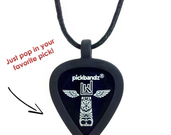 Guitar Pick Necklace by Pickbandz - Personalize by Popping in Your Favorite Pick!  Free Pickbandz pick included