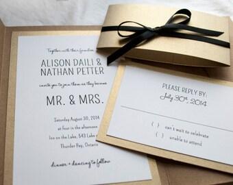 Gold Kraft Simple Wedding Invitation, 5X7 with Pocket