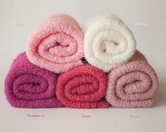 Newborn Knit Stretch Wrap, Newborn Photo Prop, Baby Stretch Wrap, Textured Newborn Wrap, RTS - Blush, Coral, Raspberry, Pink, Cream