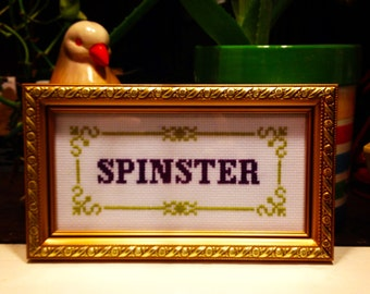 Funny counted cross stitch pattern: spinster PDF instant download