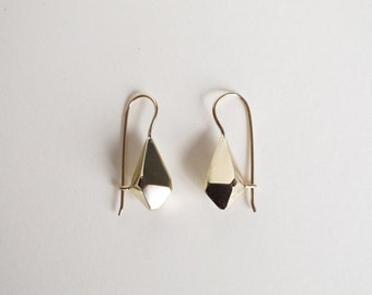 Geometric faceted brass earring with 14k wires