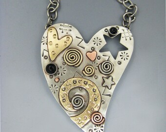 Heart Necklace, Heart Pin, Mixed Metal Heart, Silver Heart, Whimsical and Unusual Heart,  RP0056