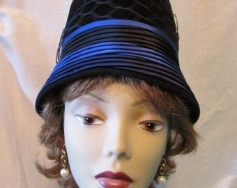 MARCHE BUCKET Cloche HAT black with blue and navy satin tucks Flapper theater costume 2E-102