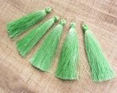 """Soft Mint Green Silky Luxurious Tassels 5 Pack Luxury tassels Designer tassels no15  Jewelry tassels Mala Tassel Decorative tassels 8cm 3"""""""