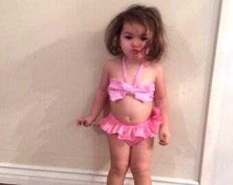 Pink and white polka dot baby bikini