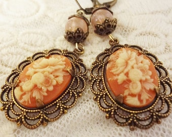 Gypsy Cameo Earrings, Mori Girl, Victorian Earrings, Bohbo Chic Jewelry, Shabby Chic Cameo, Romantic, Marie Antoinette Colors