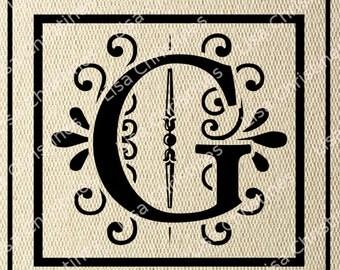 Ornamental Monogram Letter G Digital Image Instant Download 155