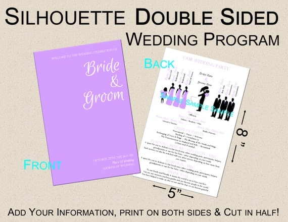 Template Double Sided Silhouette Wedding Program You By