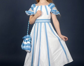 Vyshyvanka dress. Ukrainian embroidery Dress for girls. White with blue embroidery dress in Ukrainian style. National Ukrainian clothing