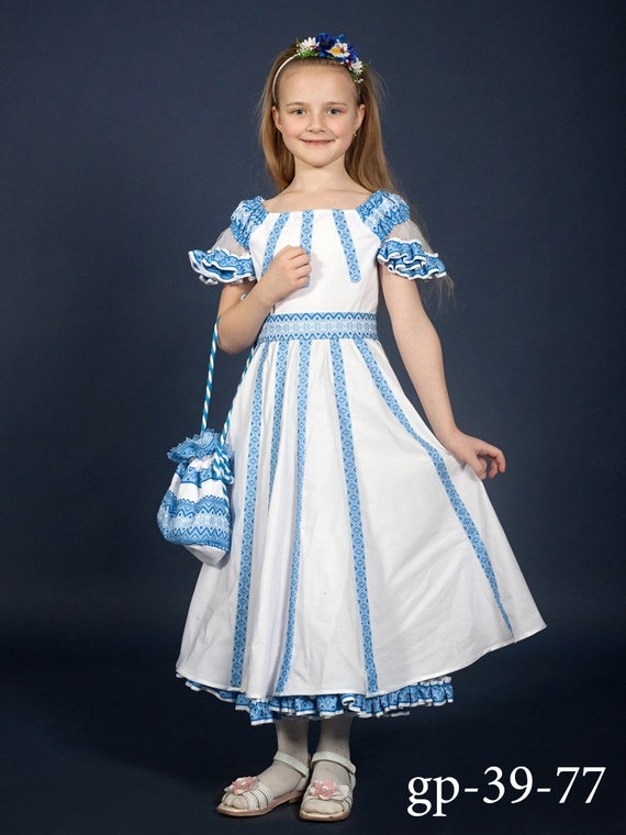 Vyshyvanka Dress Ukrainian Embroidery Dress For Girls White