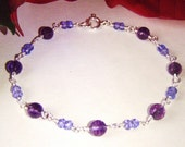 Amethyst & tanzanite quartz bracelet, sterling silver jewelry