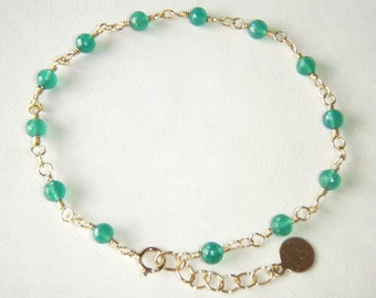 Green onyx bracelet, gold filled jewelry