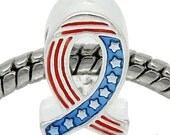 American Flag Ribbon European Bead - USA Red White Blue Ribbon Charm For All European Charm Bracelet And Necklace Chains