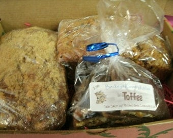 Half Pound.Dark Chocolate Sea Salt topped Toffee wPecans and Two Breads of your choice FREE SHIPPING.