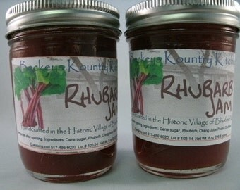 Two Jars Homemade Rhubarb jam, Beckeys jam jelly preserves fruit spread