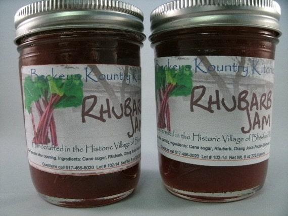 Two Jars Homemade Rhubarb jam, Beckeys jam jelly preserves fruit spread