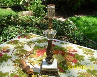 Vintage Square Metal Base Lamp/Lighting/Marble/Glass Diamond Shape Design-Ornate-Bedroom/Living Room Decor