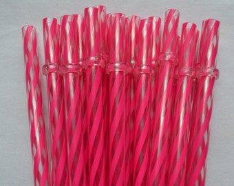 "9"" Dark Pink & Clear Swirly Straws Reusable with Rings - BPA Free"