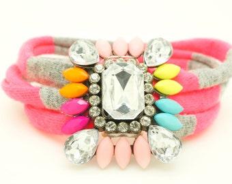 Bubble Statement Bracelet - Neon Crystal Bracelet - Rhinestone Chunky Bracelet - Striped Wrap Bracelet - T-shirt yarn Pink Grey