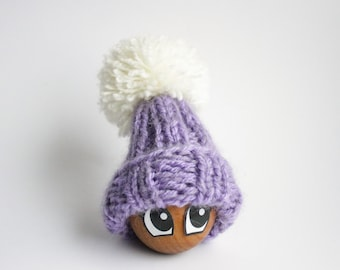 Lavender Egg Cozy - Violet and White Egg Warmer Pom Pom Hat Gift - Pastel Lavender Table Decor - Food Travel Bag - Easter Gift for kids