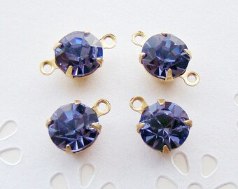 Tanzanite 8mm Round Swarovski Crystal Stones Brass Prong Drop or Connector Settings - 4