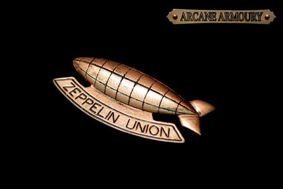 Zeppelin Union Pin/Broach Steampunk Copper Antique