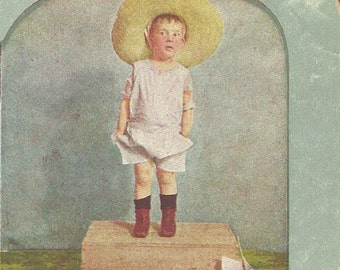 """Antique Color Stereo View Card - """"I See You, Daddy"""" - Little Boy in BIG Straw Hat and Farm Boots afraid to recite poem"""