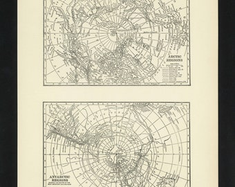 Vintage Map Poles North Pole South Pole Arctic Antarctica From 1926 Original