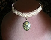 Floral Gold Choker on Vintage Pink Braid Trim, Steampunk or Neo Victorian themed gift