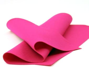 "Wool Felt Sheet - 100% Wool Felt in Color FUCHSIA - 18"" X 18"" Wool Felt - Merino Wool Felt - European Wool Felt"