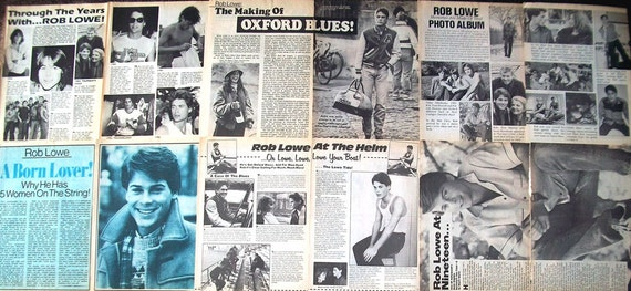 ROB LOWE - The Outsiders, Oxford Blues, The West Wing, Brothers and Sisters, Parks and Recreation - B&W Articles, Ads fr 1983-1988 - Batch 2
