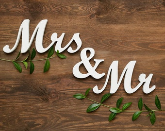Mr and Mrs table sign, free standing sweetheart table decor, unapnited, DIY, custom colors