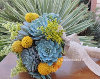 Succulent bouquets- Sea foam and yellow
