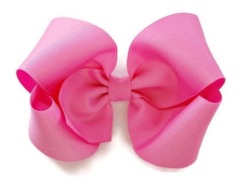 Pink Hair Bow, 5 inch Hair Bows, Girls Hair Bows, Toddler Hair Bow, Hair Bows, Boutique Bow, Big Hair Bows, Alligator Clips, Barrette, 500
