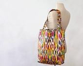 Uzbek bag, ikat, SALE, large cotton tote bag, textile bag, shopper, made in Uzbekistan, ikat bag, book bag, bright, southwestern, carryall