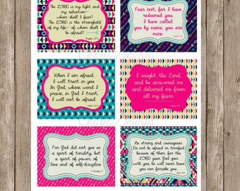Prayer Cards, Fearless, Bible Verse, Scripture Art, Printable Prayer Cards, Overcoming Fear Set, Instant Download