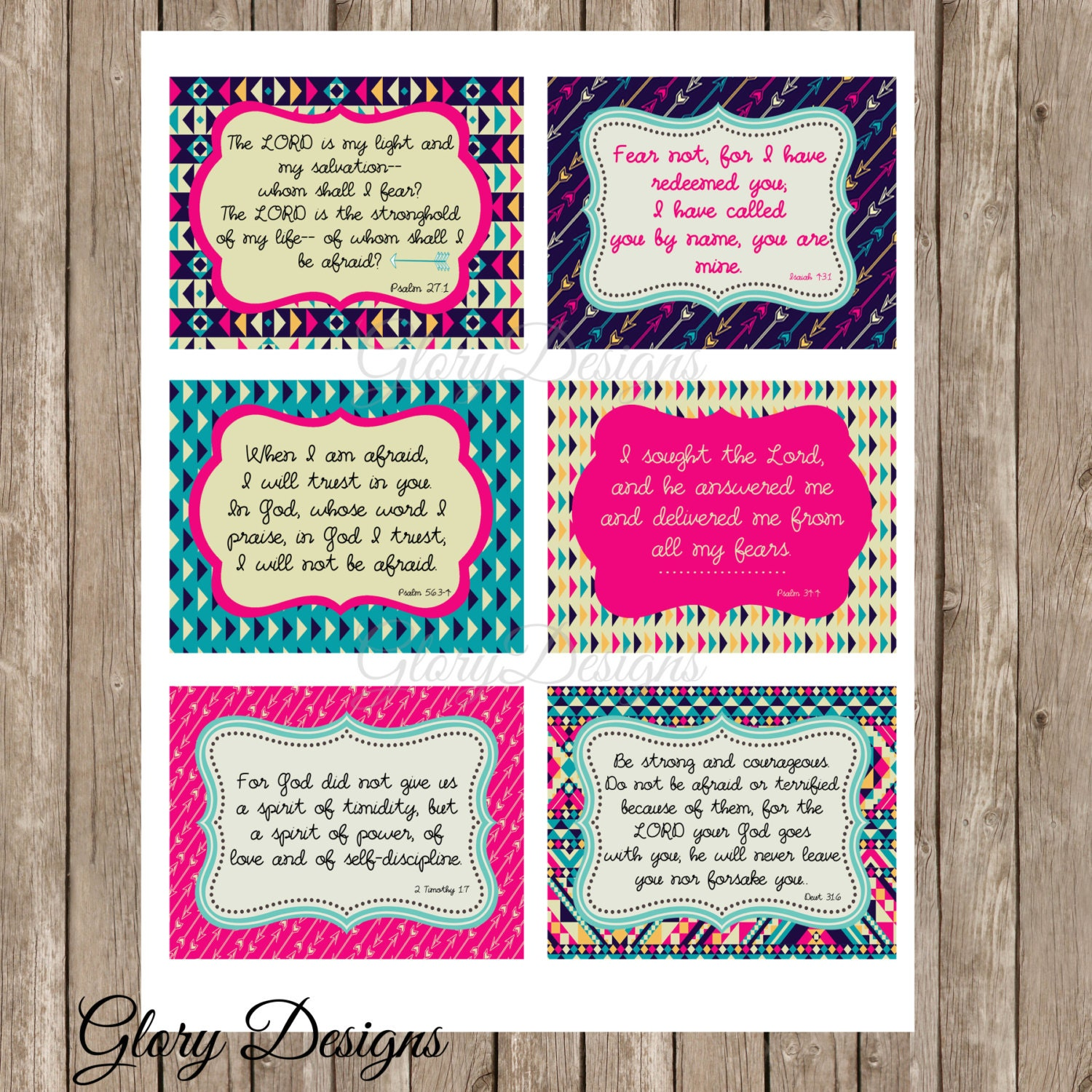 Prayer Cards Fearless Bible Verse Scripture Art Printable