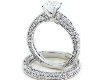 Moissanite Wedding Set Diamond Side Stones 14k Gold Ring Name  Dressed Up in Love