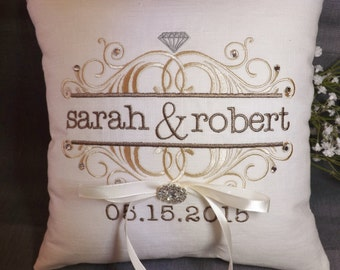 Ring Bearer Pillow, personalized ring bearer pillow, embroidered ring pillow, wedding pillow, custom ring pillow, Mr and Mrs ring bearer