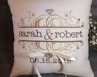 Ring Bearer Pillow, personalized ring bearer pillow, embroidered ring pillow, wedding pillow, custom ring pillow, Mr and Mrs ring bearer