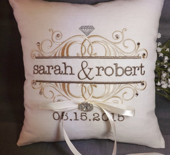Monogram Wedding Ring Bearer Pillow: Items Similar To Ring Bearer Pillow, Personalized Ring