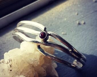 Garnet Sterling Silver Cuff Bracelet