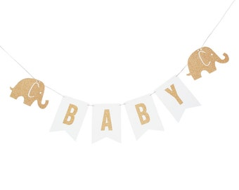 White and Gold Baby Elephant Banner - White and Gold Elephant Banner - White and Gold Shower - White and Gold Decor - White and Gold Banner