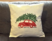 Christmas Tree on Car Pillow Cover