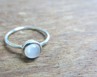 June Birthstone, White/Rainbow Moonstone Stacking Ring Sterling Silver, Thin Stackable Ring, Birthstone Stacking Ring, Size 2-15
