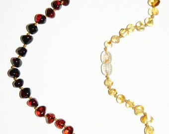 Baltic amber teething necklace for your baby, rainbow rounded increasing beads 42v