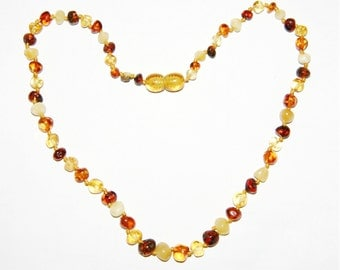 Baltic amber baby teething necklace, multicolor increasing rounded beads 6v